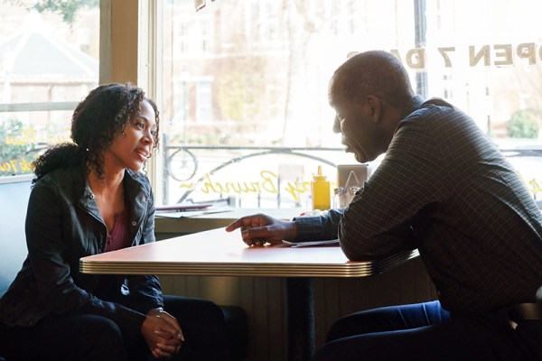 Abbie chats with her father, Ezra, in a coffee shop on Sleepy Hollow