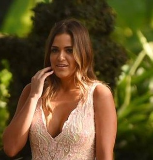 JoJo in a pink gown on The Bachelor
