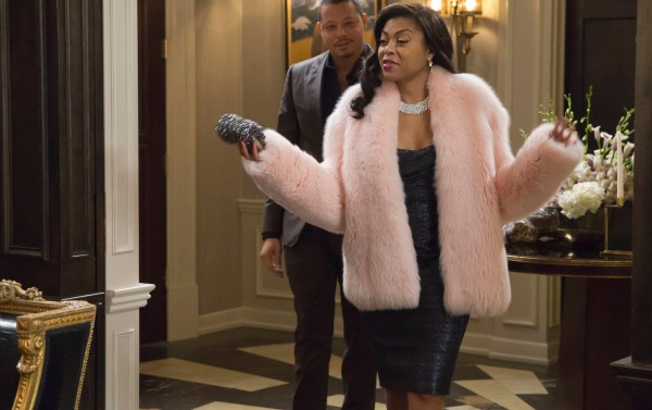 Empire's Cookie enters her birthday party in a white fur coat