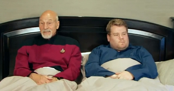 Captain Picard from Star Trek: The Next Generation in bed