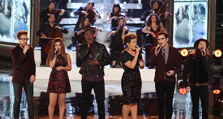 "THE VOICE -- ""Live Show"" Episode 517B -- Pictured: (l-r) Will Champlin, Jacquie Lee, Matthew Schuler, Tessanne Chin, James Wolpert, Cole Vosbury -- (Photo by: Tyler Golden/NBC)"