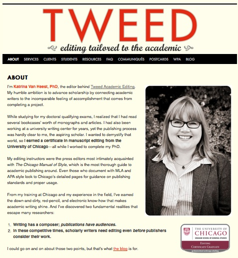 New About Page, Tweed Academic Editing