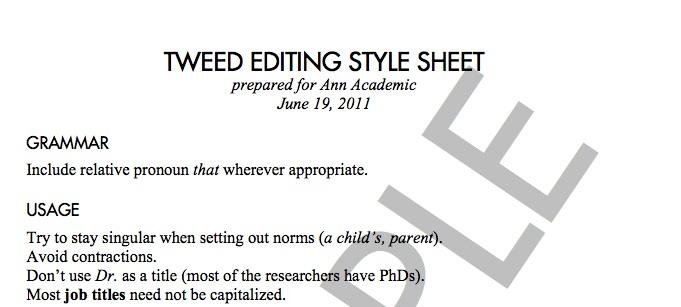 Sample Academic Editing Style Sheet