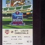 2010 Twins ticket for the first professional game albeit an exhibition game at Target Field against the St. Louis Cardinals.The Minnesota Gophers played in the first-ever game at Target Field on March 27, 2010 against Louisiana Tech in front of 36,056 fans, the second-largest crowd to ever witness a collegiate baseball game. Click on the ticket to see the complete image.