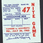 Not a ticket for Met Stadium but instead is a ticket for the Twins against the Yankees at Yankee Stadium on JUly 26, 1963. Check out the price on this ticket, remember it is 1963. Click on the ticket to see the full image.