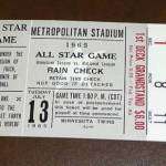 !965 All-Star game rain check. Click on the ticket to see the full image.