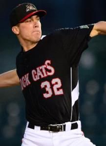 Alex Meyer pitching for New Britain in 2013