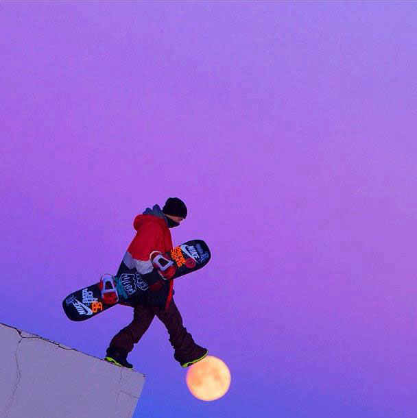 snowboarder walking on moon perfect timing