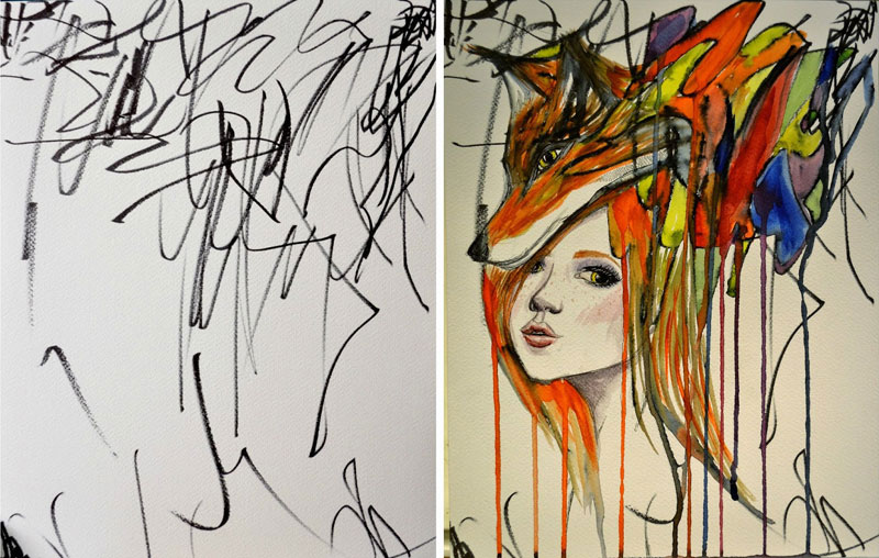 ruth-oosterman-Turns-Daughters-Sketches-Into-Watercolor-Paintings-7