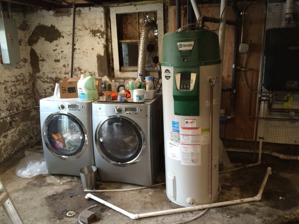 Basement water heater and laundry