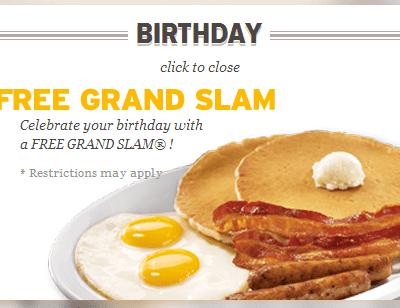 Free Grand Slam at Denny's