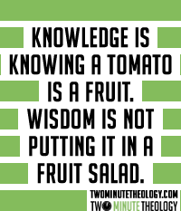 Knowledge is knowing a tomato is a fruit. Wisdom is not putting it in a fruit salad.