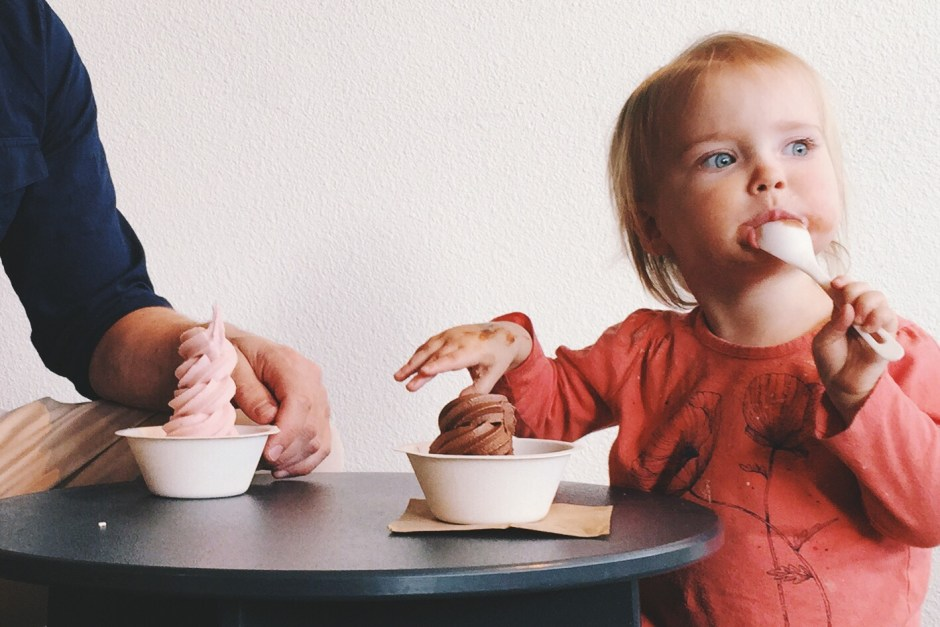 Lucie and her dairy-free frozen yogurt at Eb & Bean