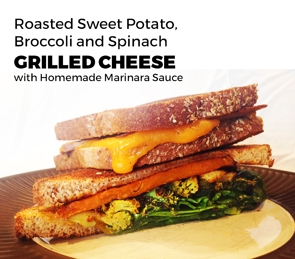 Roasted Sweet Potato, Broccoli and Spinach Grilled Cheese with Marinara Sauce | Two Shakes of Happy