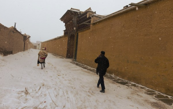 on a back street in Labrang