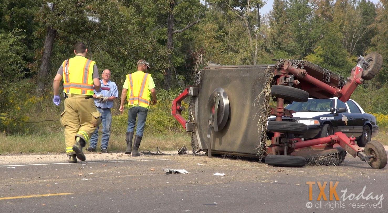 Bush Hog Accidents : Truck hits bush hog on highway texarkana today