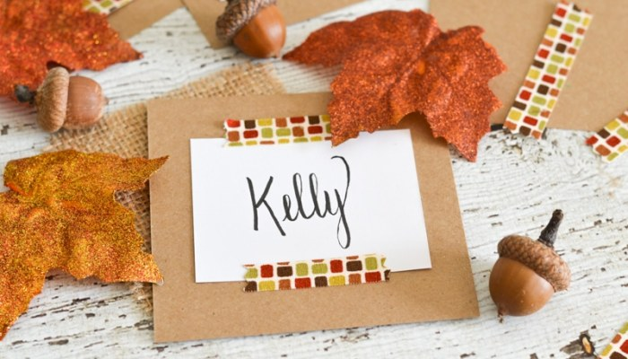 Fall Fabric Washi Place Cards
