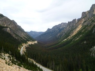 view from Washington Pass at the crest of the Cascade Mountains