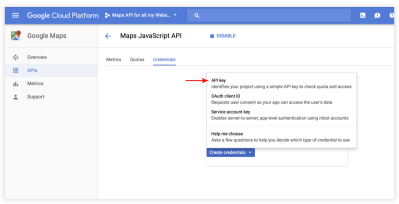 How to create Google API key in order to make the google map element work. – Documentation