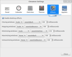 Cinnamon Settings -Desktop Effects - Cinnamon 1.2