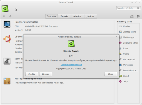 Ubuntu Tweak 0.7.1 overview, ubuntu 12.04
