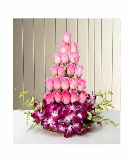 Roses and Orchids Basket arrangement