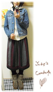 8デニムジャケット・Gジャン×パーカー×エスニックスカート