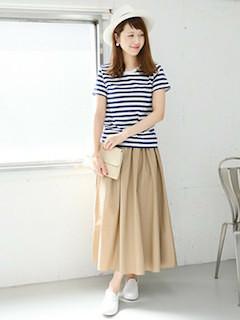 9春、ロング・マキシ丈スカート×ボーダーTシャツ