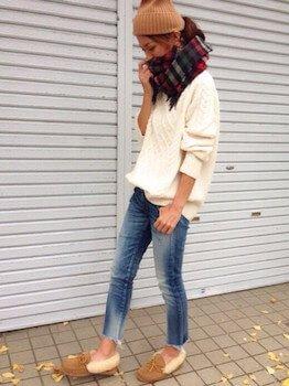 ニット帽×セーター×ジーンズ
