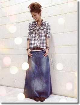 デニムマキシスカート×チェック柄シャツ×ブーツ