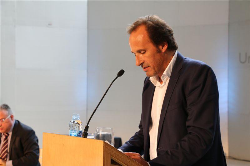 Dr. Sergi Bonet, rector de la UdG, en el decurs de l'acte d'Inauguració de curs 2014-2015