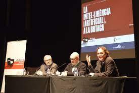 Joan Manuel del Pozo, Josep M Fonalleras i Ulises Cortés en una sessió de la Butaca Casademont (2018)