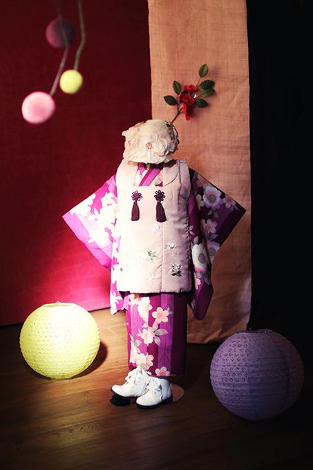 七五三の衣装コレクション 女の子(紫の着物でモダン和スタイル)