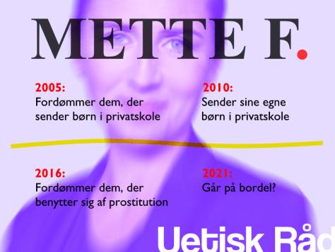 Mette F. 2005: Fordømmer dem, der sender børn i privatskole. 2010: Sender sine egne børn i privatskole. 2016: Fordømmer dem, der benytter sig af prostitution. 2021: Går på bordel?
