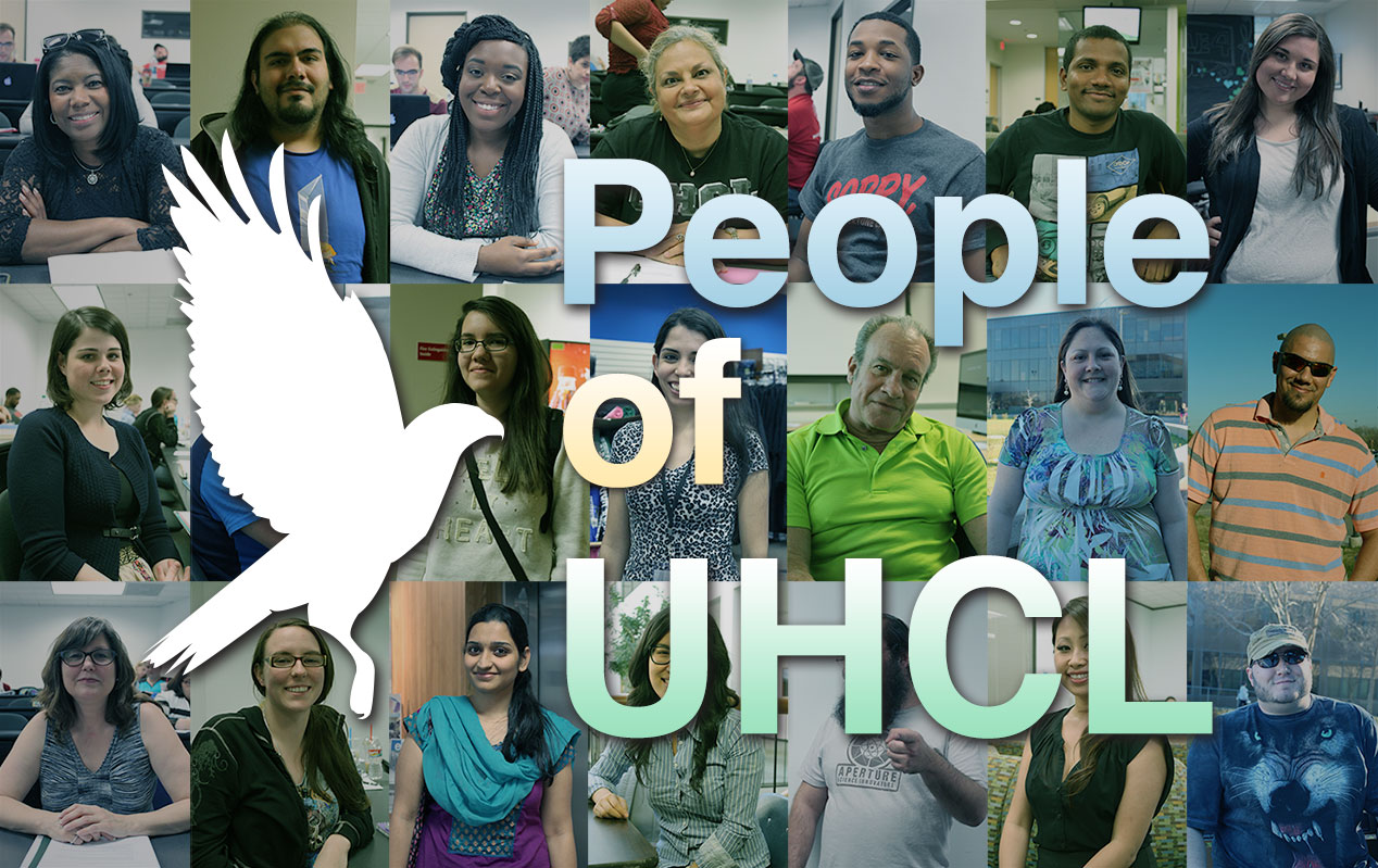 Photo collage: Head shots of various members of the UHCL community with the words