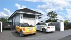 Szombathely családi ház típusterv utcai homlokzata fehér színben