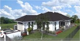 Szombathely családi ház típusterv udvari homlokzata fehér színben