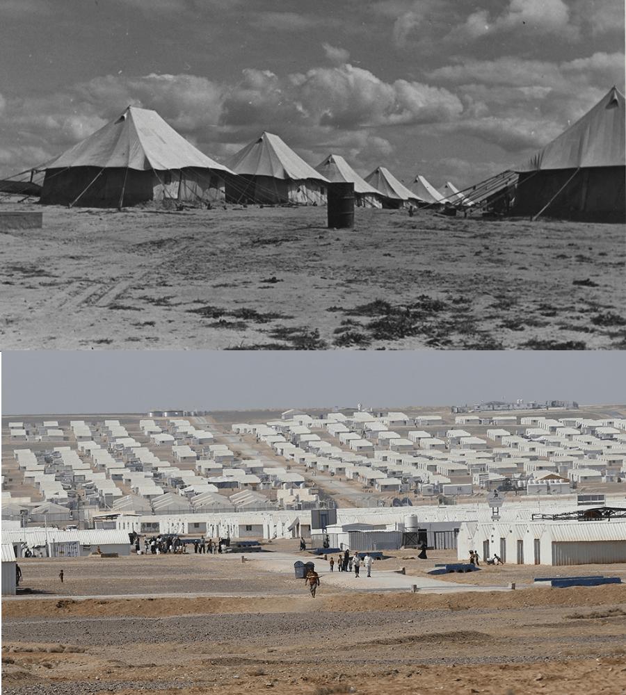 Ряды палаток в лагере для беженцев во время Второй мировой войны в Нусейрате, Палестина, поразительно похожи на современный лагерь для беженцев на восток от Аммана, Иордания, построенный для сирийских беженцев в 2014 году. Фото предоставлены Отделом управления архивами и записями ООН и Мухаммедом Хамедом, Reuters.