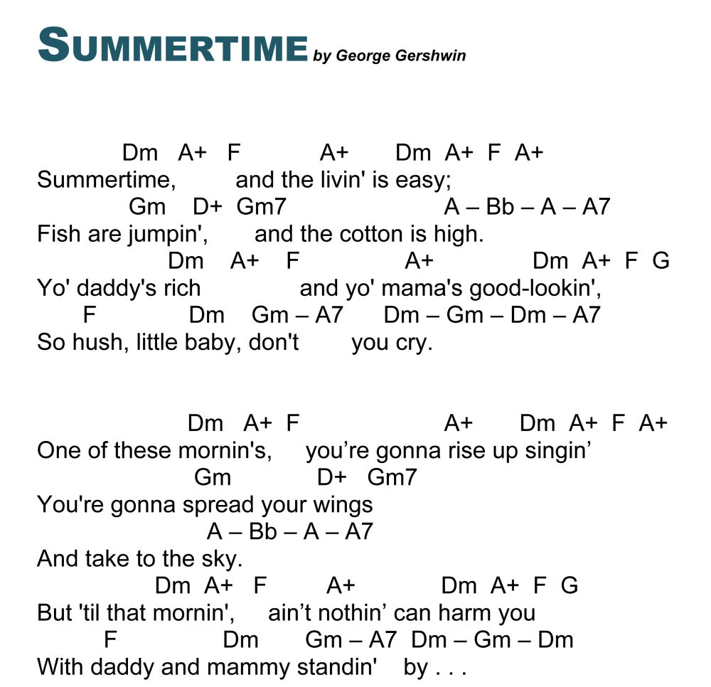SUMMERTIME . . . . A Gershwin classic for the ukulele (2/2)