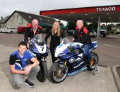 Dan Kneen launching a new sponsorship with the MCE Insurance Ulster Grand Prix and Whitemountain Centra Service Station, who are backing Supersport race one at the event in August.  L-R: Dan Kneen, Noel Johnston, Clerk of the Course at the MCE Ulster Grand Prix, Danielle Finlay and Sam Finlay, Whitemountain Centra Service Station.
