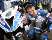 PACEMAKER BELFAST 13/8/2016: Ian Hutchinson(Tyco BMW) celebrates his way victory in the feature Superbike race at today's Ulster Grand Prix. Picture STEPHEN DAVISON