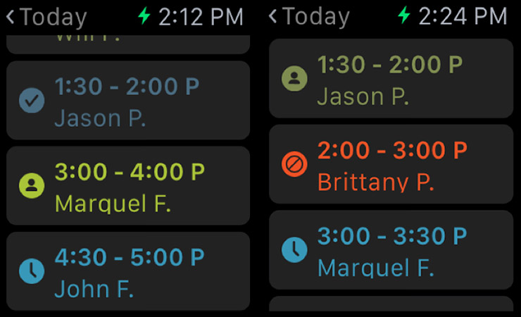 Screen shot from Kareo EHR Apple Watch app