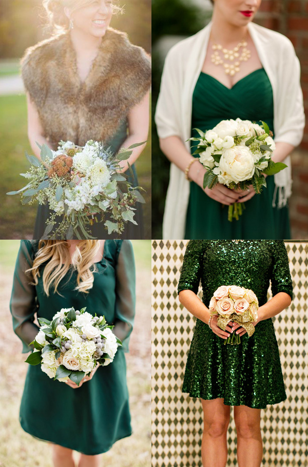 Frock + Flowers: Winter Green Bridesmaid Looks