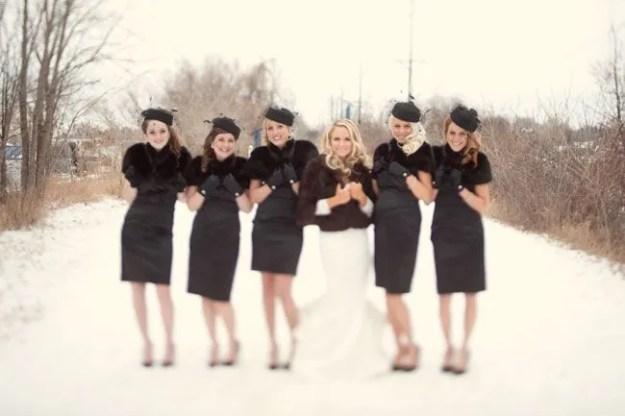 14 Perfect Winter Bridesmaid Looks: Faux Fur Wraps