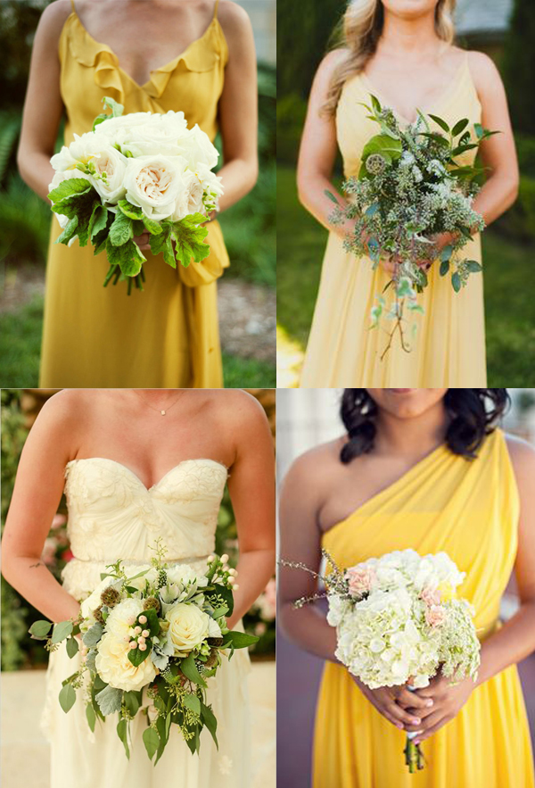 Frock + Flowers: Pair yellow dresses with neutral flowers in whites and pale pink, with pops of greenery