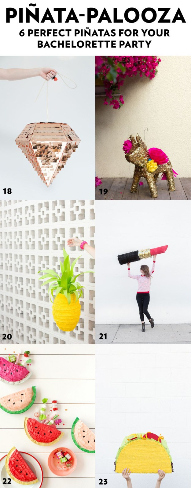 6 Perfect Pinatas for your Bachelorette Party + 44 More Simple and Stylish DIY Bridal Shower & Bachelorette Decoration Ideas from Ultimate Bridesmaid