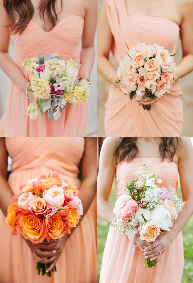 Peach orange bridesmaid dresses