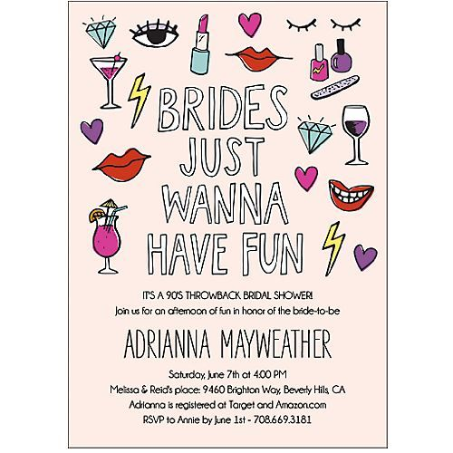 brides just wanna have fun invite : perfect for a 90s throwback bridal shower or bachelorette slumber party