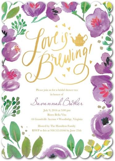 love is brewing : perfect tea party bridal shower invitation invite