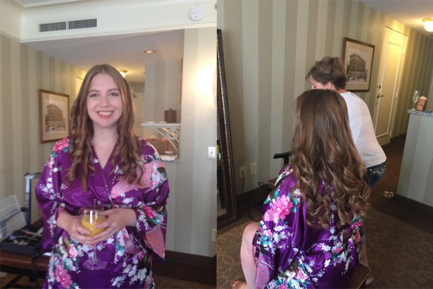 O.Henry Hotel Wedding | Ultimate Bridesmaid | Bridesmaid getting ready at the O.Henry Hotel in a monogrammed robe